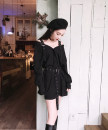 Dress Summer of 2019 black S,M,L Short skirt singleton  Long sleeves commute High waist Solid color Single breasted Irregular skirt shirt sleeve Other / other Korean version 51% (inclusive) - 70% (inclusive) other