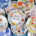 disc pottery Color in glaze Nordic style Flat plate 8 inches 1 Cartoon animation Chinese Mainland Self made pictures circular