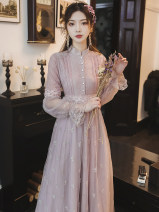 Dress Autumn 2020 lavender S,M,L,XL longuette singleton  Long sleeves commute stand collar High waist Solid color Single breasted Big swing Others Type A Other / other Retro Stitching, buttons, lace
