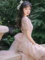 Dress Summer 2020 Apricot S,M,L Mid length dress singleton  Short sleeve commute High waist Solid color zipper Others Type A Retro