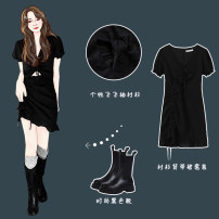 Dress Summer 2021 black Average size Middle-skirt singleton  Short sleeve commute Hood Solid color routine 18-24 years old 30% and below other