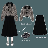 Fashion suit Spring 2021 Average size Black shirt, black skirt Under 17 Other / other 96% and above polyester fiber