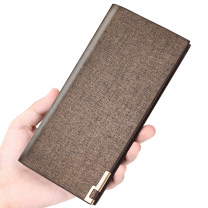 wallet Long Wallet Super fiber synthetic leather banabanma golden brand new Japan and South Korea male Exposure Solid color 80% off Erect funds youth Big banknote holder, photo position, certificate position, card position Sewing polyester fiber