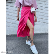 skirt Autumn 2020 Mid length dress High waist commute A-line skirt Solid color Type H 18-24 years old 71% (inclusive) - 80% (inclusive) cotton One size fits all: double button Pink, black