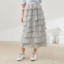 skirt Autumn 2020 S M L Black Silver longuette commute High waist Cake skirt Solid color Type A 25-29 years old More than 95% Chiffon Chant the official polyester fiber Splicing Polyester 100% Same model in shopping mall (sold online and offline)