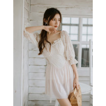 one piece  Linesdear / Blue Lion Deere M,L,XL Off white Skirt one piece With chest pad without steel support female Middle sleeve Casual swimsuit backless