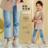 trousers BBFAISEN female 160cm,150cm,140cm,130cm,120cm wathet spring and autumn Ninth pants Korean version There are models in the real shooting Jeans Leather belt middle-waisted cotton Don't open the crotch Cotton 93% other 7% LZK0030 Class B 14, 13, 12, 11, 10, 9, 8, 7, 6, 4, 5