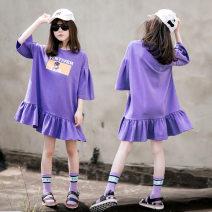 Dress violet female Fishen 110cm,120cm,130cm,140cm,150cm,160cm,165cm Other 100% summer Korean version Short sleeve Solid color other Splicing style Class B Four, five, six, seven, eight, nine, ten, eleven, twelve, thirteen, fourteen Chinese Mainland