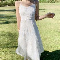 Dress Summer 2021 white S,M,L,XL longuette singleton  Sleeveless commute V-neck High waist Big flower zipper A-line skirt other camisole 25-29 years old Type A Simplicity Embroidery, zipper