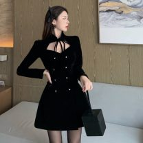 Dress Spring 2021 black S, M Short skirt singleton  Long sleeves commute stand collar High waist Solid color Socket A-line skirt routine 18-24 years old Type A Korean version Bowknot, hollow out, lace up, tridimensional decoration, button 71% (inclusive) - 80% (inclusive)
