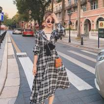 Dress Spring 2021 Black and white check S,M,L,XL longuette singleton  Long sleeves commute V-neck High waist lattice Socket A-line skirt routine Others 18-24 years old Deguang Retro DG296-Y66 51% (inclusive) - 70% (inclusive) other other
