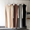 Sweater / sweater Autumn of 2019 Black, coffee, grey, apricot, black suit, coffee suit, grey suit, apricot suit M, L Sleeveless Medium length Socket singleton  routine Hood easy commute routine Solid color 96% and above Other / other Korean version cotton CJF746C8919866545 Drawstring