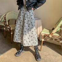 skirt Winter 2020 S,M,L Light grey longuette commute High waist A-line skirt lattice Type A 18-24 years old More than 95% serious zizifei polyester fiber zipper Retro