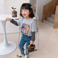 T-shirt White, light gray, violet Little red fish 90cm,100cm,110cm,120cm,130cm,140cm female spring and autumn Long sleeves High collar leisure time There are models in the real shooting nothing Cotton blended fabric Cartoon animation Polyacrylonitrile fiber (acrylic fiber) 51% wool 49% C01202 Class B