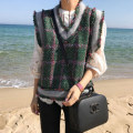 Vest Autumn of 2018 green Average size routine V-neck commute lattice 18-24 years old Other / other