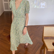 Dress Summer 2021 Green, purple Average size Mid length dress singleton  Short sleeve commute V-neck High waist Decor Single breasted 18-24 years old Other / other Korean version