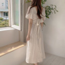 Dress Summer 2020 Apricot S,M,L,XL longuette singleton  Short sleeve commute V-neck High waist Solid color 18-24 years old Type A Other / other Korean version