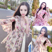 Dress Autumn 2020 Apricot, pink S,M,L,XL,2XL Short skirt singleton  three quarter sleeve commute V-neck High waist Decor zipper A-line skirt pagoda sleeve Others 18-24 years old Type A Other / other Korean version Chiffon