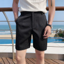 Casual pants Others Business gentleman black M,L,XL,2XL,3XL thin Shorts (up to knee) Other leisure Self cultivation Micro bomb summer youth Business Casual 2021 middle-waisted Straight cylinder Other 100% Beach pants other washing stripe other other polyester fiber Fashion brand