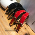 Belt / belt / chain Double skin leather Square button bright red, square button black, round button black, round button bright red