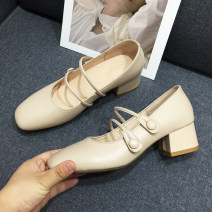 Low top shoes Square head Top leather Square heel Middle heel (3-5cm) Shallow mouth Pig skin Summer 2020 Flat buckle Sweet Adhesive shoes Youth (18-40 years old), student Solid color TPR (tendon) Mary Jane shoes Thick heel Sheepskin daily 5032-1