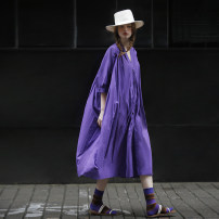 Dress Summer 2021 Sweet taro purple S,M,L longuette singleton  three quarter sleeve commute V-neck Loose waist Solid color Big swing Others 25-29 years old Type H Flowers, trees and fruits Simplicity Splicing 21XHS3030L More than 95% cotton