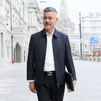Jacket Other / other Business gentleman Dark grey, Dark Navy 170,175,180,185,190,195 routine standard Other leisure spring JIAKE05 Long sleeves Wear out Lapel Business Casual middle age routine Zipper placket 2019 Cloth hem Loose cuff Side seam pocket