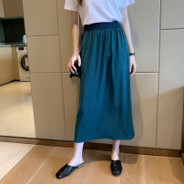 skirt Summer 2020 Average size Mid length dress commute High waist A-line skirt Solid color Type A 18-24 years old More than 95% Mira cool clothes other fold Korean version Other 100% Pure e-commerce (online only)