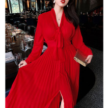Dress Summer 2020 Positive red XS,S,M,L,XL Mid length dress singleton  Long sleeves street V-neck High waist Solid color Socket Pleated skirt routine Others Type X Reeve haute couture Bow, fold, lace, strap, zipper 91% (inclusive) - 95% (inclusive) Chiffon Europe and America