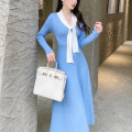 Dress Winter 2020 Love letter grey porcelain blue XS,S,M,L Mid length dress singleton  Long sleeves street V-neck High waist Solid color Socket Big swing routine 25-29 years old Type X Reeve haute couture Bowknot, lace up, stitching 31% (inclusive) - 50% (inclusive) knitting wool Europe and America