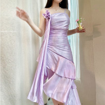 Dress Summer 2021 Silver lotus purple, crystal white XS,S,M,L,XL Mid length dress singleton  Sleeveless street square neck High waist Solid color Socket Irregular skirt routine camisole 25-29 years old Type H Reeve haute couture Ruffles, folds, zippers 91% (inclusive) - 95% (inclusive)