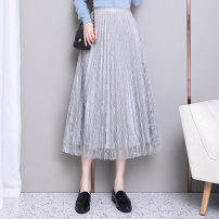 skirt Spring 2020 Average size Black, grey, apricot Short skirt fresh High waist Pleated skirt Solid color 18-24 years old 1916 wear both front and back Lace Onoev other Stitching, folding