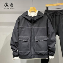 Jacket Other / other Youth fashion black routine standard Other leisure spring Cotton 75% polyester 25% Long sleeves Wear out Hood Basic public youth routine 2021 Closing sleeve Solid color cotton