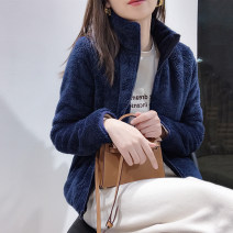 short coat Winter 2020 S,M,L,XL Navy, fashionable green, temperament black, atmospheric gray, rice apricot Long sleeves routine routine singleton  Straight cylinder commute routine stand collar zipper Solid color Touch miss 96% and above pocket T121704S polyester fiber polyester fiber
