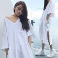 Nightdress Other / other 160(M),165(L),170(XL),175(XXL) sexy Middle sleeve pajamas longuette summer Solid color youth V-neck cotton Sticking cloth More than 95% Knitted cotton fabric 200g and below