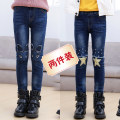 trousers Other / other female spring and autumn trousers leisure time There are models in the real shooting Jeans Leather belt High waist Cotton elastic denim Don't open the crotch Class B Three, four, five, six, seven, eight, nine, ten, eleven, twelve, thirteen
