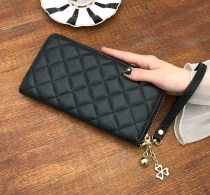 wallet Long Wallet PU Other / other Silver grey Rose Red Gold Purple Black brand new Japan and South Korea female zipper Solid color 90% off Horizontal style youth Big cash clip, small change slot, zipper slot Sewing nylon soft surface