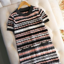 Dress Spring 2020 Picture color S,M,L Middle-skirt singleton  Short sleeve street Crew neck Loose waist Socket routine Others Type H 30% and below knitting Europe and America
