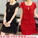 Women's large Spring 2021, summer 2021 Black, pink, red, Burgundy, purple, rose Big 2XL (130-145 kg), big 3XL (145-165 kg), big 4XL (165-180 kg), big 5XL (180-200 kg), big L (100-115 kg), big XL (115-130 kg), big M (below 100 kg) Dress singleton  commute easy thin Socket Short sleeve Solid color wave