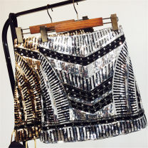 skirt Summer of 2019 Average size Silver, gold Short skirt street High waist A-line skirt stripe Type A 25-29 years old 30% and below Candy polyester fiber Sequins Europe and America