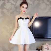 Dress Spring 2021 Rose, white, pink, black S,M,L Short skirt singleton  Sleeveless commute One word collar middle-waisted other Socket A-line skirt Breast wrapping Type A Other / other Korean version Splicing