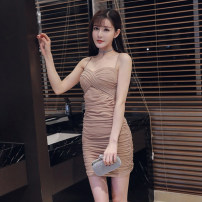 Dress Spring 2021 Khaki, white, black, red, apricot, blue S,M,L Short skirt singleton  Sleeveless commute One word collar middle-waisted Solid color Socket Pleated skirt camisole Type H Other / other Korean version backless