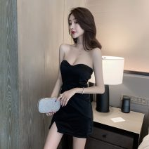 Dress Spring 2021 White, pink, red, black S,M,L,XL Miniskirt singleton  Sleeveless commute V-neck High waist Solid color zipper One pace skirt other Breast wrapping Type X Other / other Korean version