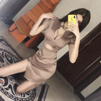 Dress Summer 2020 Picture color S,M,L Short skirt singleton  Short sleeve commute V-neck High waist Solid color Socket One pace skirt other Others 18-24 years old Type X Other / other Korean version 31% (inclusive) - 50% (inclusive) other other