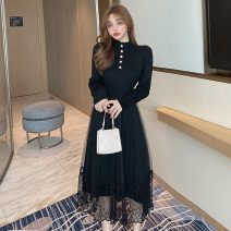 Dress Spring 2021 Apricot, black Average size Mid length dress singleton  Long sleeves commute High collar High waist Solid color A-line skirt routine Type A Korean version Stitching, mesh, buttons
