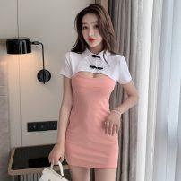 cheongsam Summer 2021 S,M,L White powder, white black Short sleeve Short cheongsam Retro No slits daily Solid color