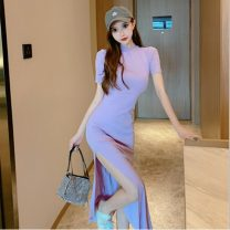 Dress Summer 2021 Light purple, black S,M,L Mid length dress singleton  Short sleeve Half high collar High waist Solid color One pace skirt routine Type X Three dimensional decoration
