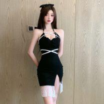 Dress Summer 2021 black S,M,L Short skirt singleton  Sleeveless commute V-neck High waist Solid color One pace skirt Hanging neck style Type X Korean version