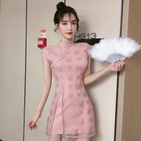 cheongsam Spring 2021 S,M,L,XL White, pink, black Short sleeve Short cheongsam Retro High slit Straight front Solid color Other / other other