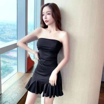Dress Summer 2021 Sky blue, black S,M,L,XL Short skirt singleton  Sleeveless commute One word collar High waist Solid color Socket One pace skirt other Breast wrapping Type A Other / other Korean version Ruffles, open back, pleats, stitching brocade cotton